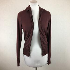James Perse Sz 2 Burgundy full zip knit jacket